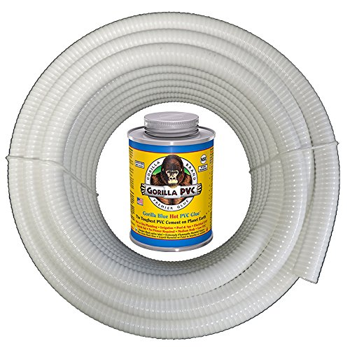 25 Ft X 1 14&quot Dia Hydromaxx&reg White Flexible Pvc Pipe Hose Tubing For Pools Spas And Water Gardens Includes