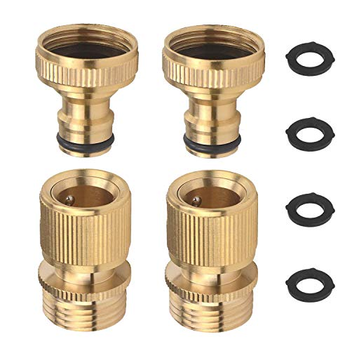 BEAULIFE Easy Connect Garden Hose Quick Connect Fittings 34 Inch GHT Solid Brass Water Hose End Adapter Male and Female Quick Connectors Set
