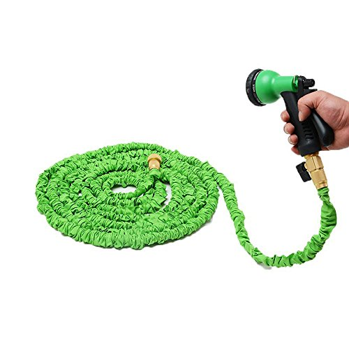 50 ft Expanding Water Hose Strongest Expandable Garden Hose Solid Brass Ends Shut-off Valve Extra Strength Fabric with 34 Inch 8 patterns Sprayer Nozzle