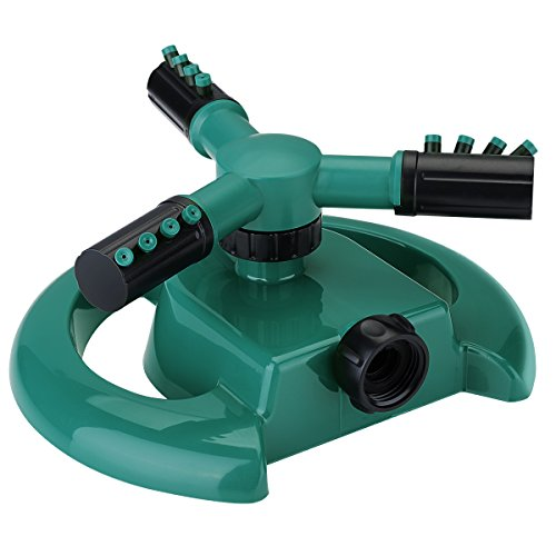 VicTsing Lawn Sprinkler Water Sprinkler System 3 Arm Rotary Sprayer 360° Rotating Impulse Long Range Sprinklers with Metal Weights for Garden and Lawn