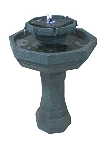2 Tier Octagonal Sage Fountain Solar Birdbath with LED Lights ASF302A