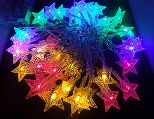 Mini Skater Christmas Fairy String Light 4M13ft 40 LED Star Light Battery Operated Flash Light for Halloween Xmas Family Festival Party Colorful Star Light 125