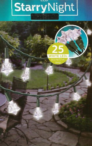 Set of 25 StarryNight Light Show White Led Star Lights - Patio Garden