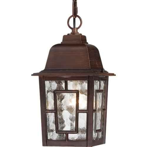 Nuvo Lighting 604932 Banyon One Light Hanging Lantern 100 Watt A19 Max Clear Water Glass Rustic Bronze Outdoor
