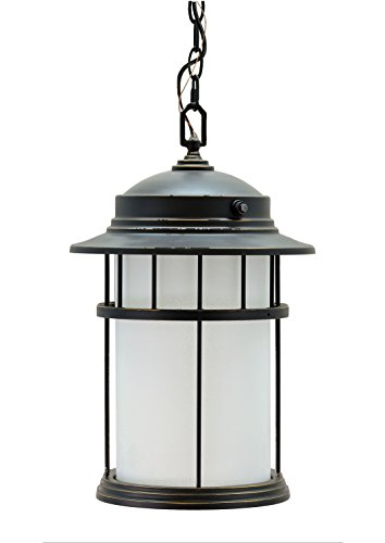 Aspen Creative 60004 1 Light Medium Outdoor Hanging Pendant Light Fixture with Dusk to Dawn Sensor Transitional Design in Aged Bronze Patina 17 34 High