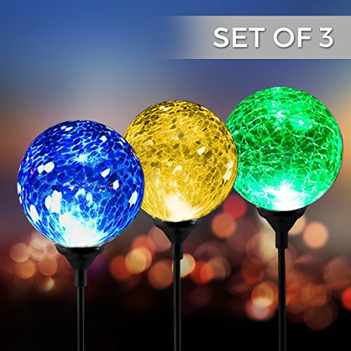 Solar Powered Crackle Glass Ball- 7 Color Changing Stake Lights- Set of 3- Weatherproof Design- Decorative Landscape Lamps- Wireless Outdoor LED Accent Lighting- Best Decor for Garden Yard Path 3