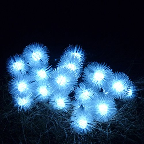 KELOMTECHNOLOGY Solar 20 LED Snowball Waterproof Solar Chuzzle Ball Fairy String Lights Solar Outdoor Decorative Lightsfor Homes Christmas OutdoorPatioGardens Wedding Party Decoration and etc