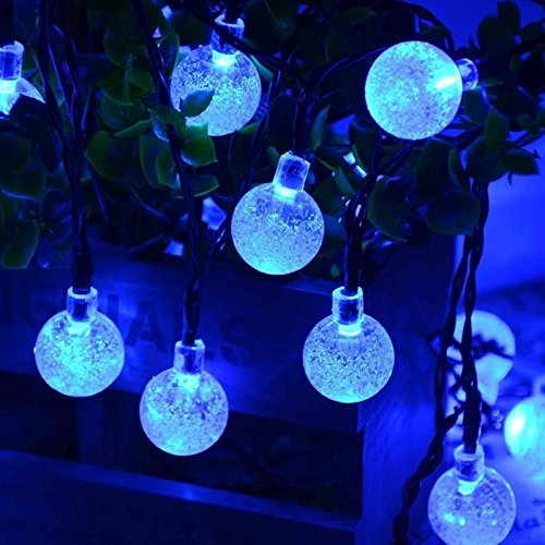 Solar String Lights LED Bubble Ball Holiday Decorations Outdoor Waterproof 197 Ft 30 Fairy pure white Colored LEDs Blossom Garden Lighting Blue