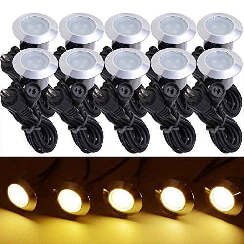 Yescom 10pc Deck Garden Mall Step Stair Landscape Led Lights Low Voltage Ip65 Lamp W Transformer