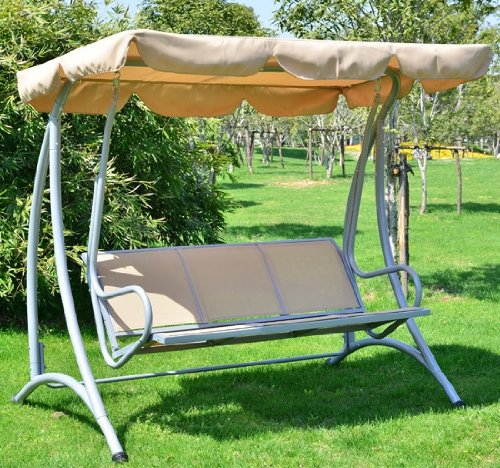 Outsunny Covered Outdoor Patio Swing Bench with Frame Sand
