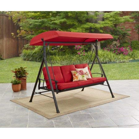 Mainstay Durable Rust-Resistant Powder-Coated Steel Frame 3-Person Canopy Porch Swing Bed Red  Free Cleaning Dust Cloth