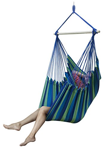 Sorbus&reg Large Brazilian Hammock Chair -extra Long Bed Swing Seat For Any Indoor Or Outdoor Spaces blue Mutli