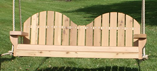 Brand New 2-seat Adirondack Cedar Porch Swing With Hanging Rope And Cupholders - 5 Foot Stained