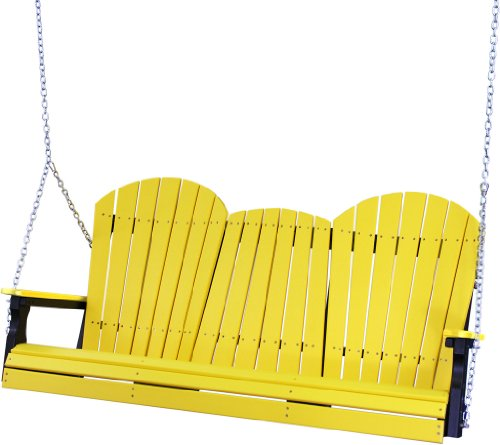 Outdoor Poly 5 Foot Porch Swing - Adirondack Design -green And Black Color