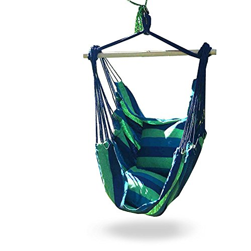 iCorer Hanging Hammock Chair Swing Seat for Indoor or Outdoor Spaces Blue Green Stripes 2 Seat Cushions Max 265 Lbs