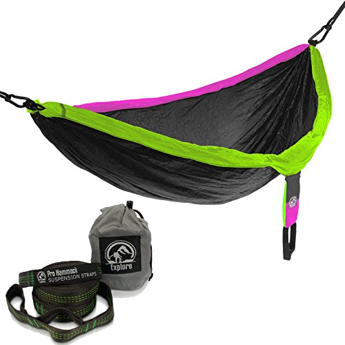 Insane Sale - Explore Outfitters Pro Nylon Double Hammock - Large - With Tree Straps - Best Portable Parachute