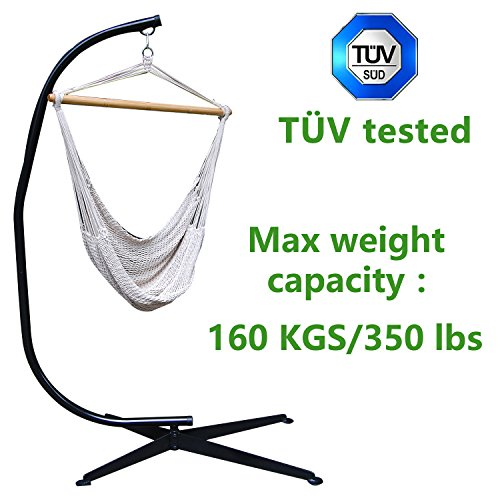 T&uumlv Tested Zupapa&reg Heavy Durable Steel C Hammock Frame Stand With 100 Cotton Hammock Swing Chair - 40inch Wide