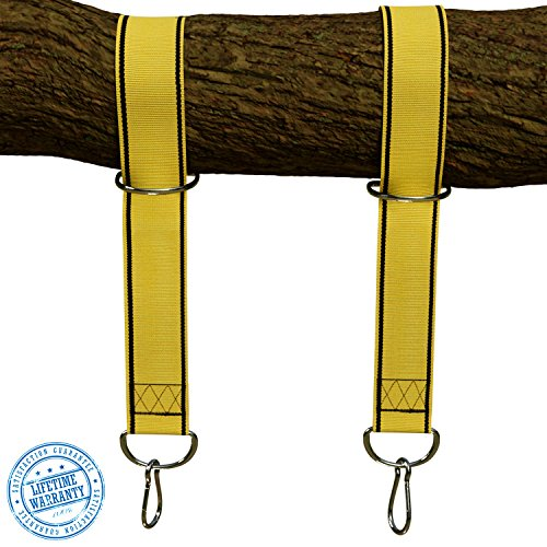 StrapMate Tree Patio Swing Hanging Kit - Two 4 Foot Straps Holds 2800 lbs SGS Certified Free Extra Strong 4 Snap Carabiners - Fastest Easiest Way to Hang Any Swing Hammock - No Tools Needed
