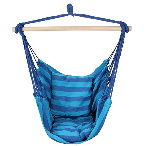 Swing Hanging Hammock Chair With Two Cushions Blue