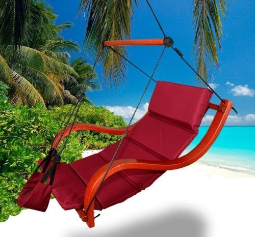 New Deluxe Patio Hanging Air Padded Swing Lounger Hammock Chair - Burgundy
