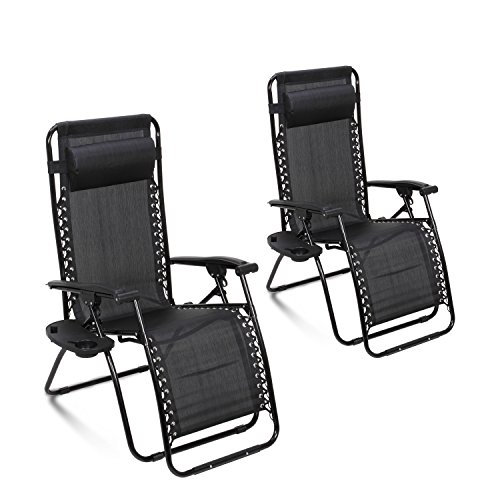 Ollieroo&reg 2-pack Black Zero Gravity Lounge Chair With Pillow And Utility Tray Adjustable Folding Recliner Outdoor