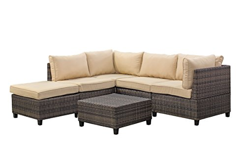 Tampa 6 Piece Outdoor Rattan Wicker Sofa Sectional Sets - Perfect Patio Deck Porch And Sunroom Furniture Set