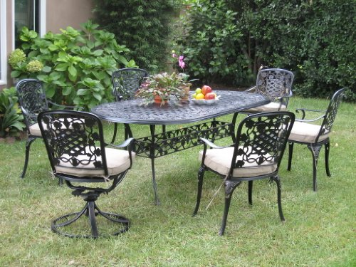 Outdoor Cast Aluminum Patio Furniture 7 Piece Dining Set F with 2 Swivel Chairs Cbm1290