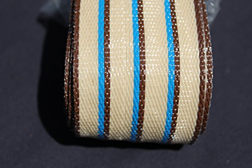 Wellington lawn chair Re-Web Kit 2 14 in wide 72 feet TAN stripes with BLUE accent