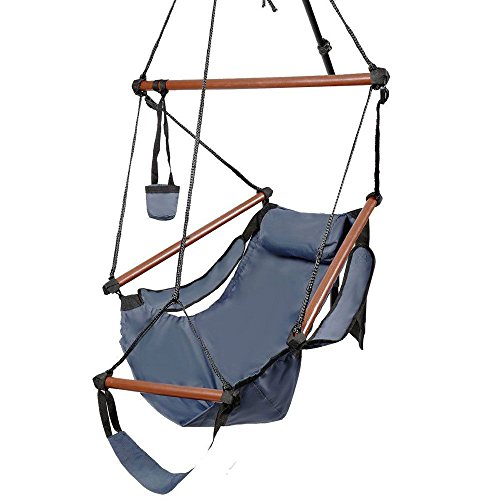 FCH Outdoor Air Deluxe Sky Swing Hammock Chair Hanging Rope Chair with Pillow Arm Arrest Footrest and Drink Holder for Patio Furniture Camping Travel Porch Lounge Blue