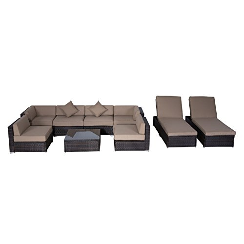 Outsunny 9pc Outdoor Patio Rattan Wicker Sofa Sectionalamp Chaise Lounge Furniture Set - Desert Sand