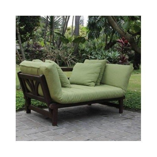 Studio Outdoor Converting Patio Furniture Sofa Couch And Love Seat Folding Lounge Chair Brown With Green Cushions
