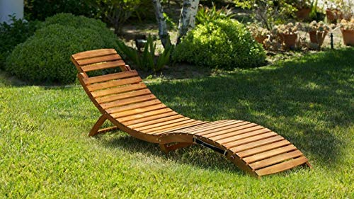 ANA Store Natural Wood Convenient Sunbath Bed Perfect Ergonomic S-Shape Recliner Comfortable Relaxing Compact Curl Deck Terrace Furniture Chaise Lounge Chair