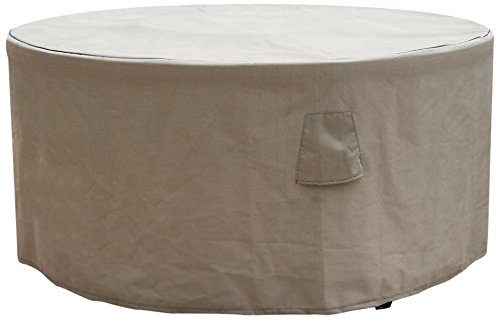 Budge English Garden Round Patio Table Cover Small tan Tweed