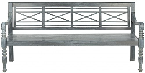 Safavieh Patio Collection Martin Adirondack Acacia Wood Bench Ash Grey