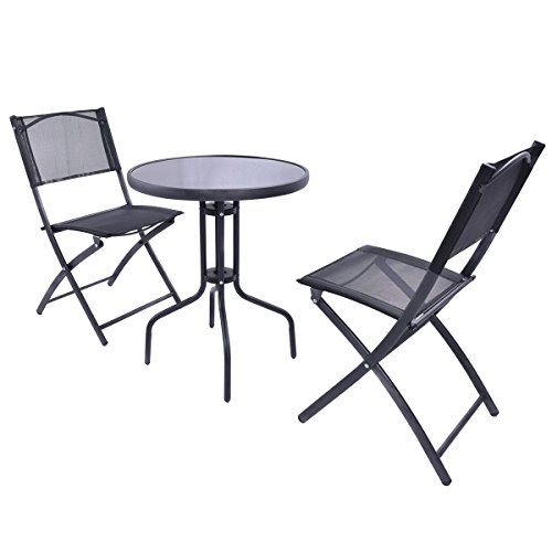 Giantex 3 Pcs Bistro Set Garden Backyard Table Folding Chairs Outdoor Patio Furniture