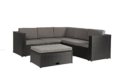 Baner Garden k35 4 Pieces Outdoor Furniture Complete Patio Wicker Rattan Garden Corner Sofa Couch Set Full