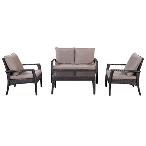 Giantex 4pc Patio Rattan Furniture Set Tea Tableampchairs Outdoor Garden Steel Frame
