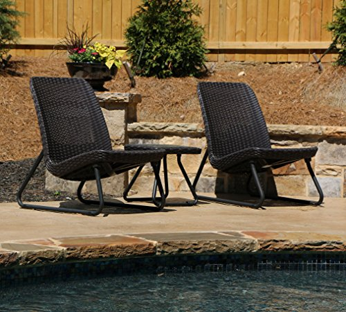 Keter Rio 3 Pc All Weather Outdoor Patio Garden Conversation Chair Set Furniture Brown