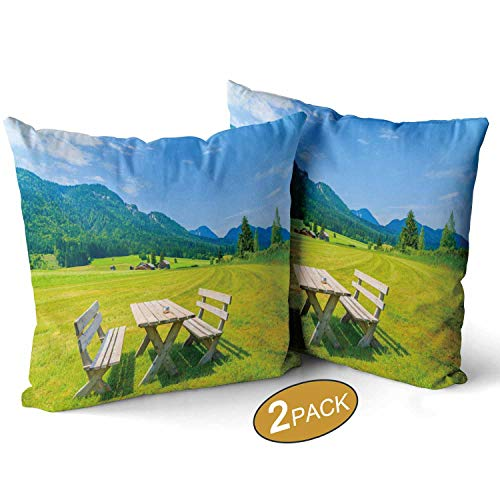 Nine City Wooden Picnic Table with Benches on Green Meadow in Summer Landscape of Weissensee LakeThrow Pillow Cushion Cover Set of 2 Austria Sofa Bed Throw Cushion Cover Decoration 14 X 14