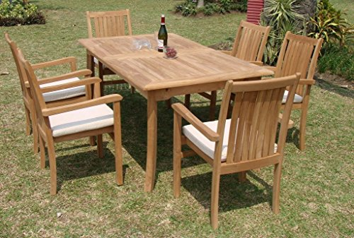Grade-a Teak Wood Luxurious Dining Set Collections 7 Pc - 94&quot Double Extension Rectangle Table And 6 Cahyo Stacking