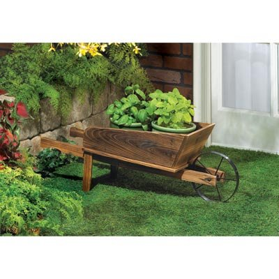 Garden Planters Wooden Wagon Home Decorative Indoor Outdoor Ornament Container Pot Holder Stand