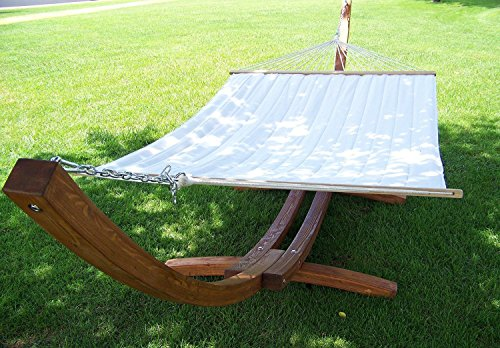 Petra Leisure 14 Ft Teak Wooden Arc Hammock Stand  Quilted Beige Color Double Padded Hammock Bed 2 Person
