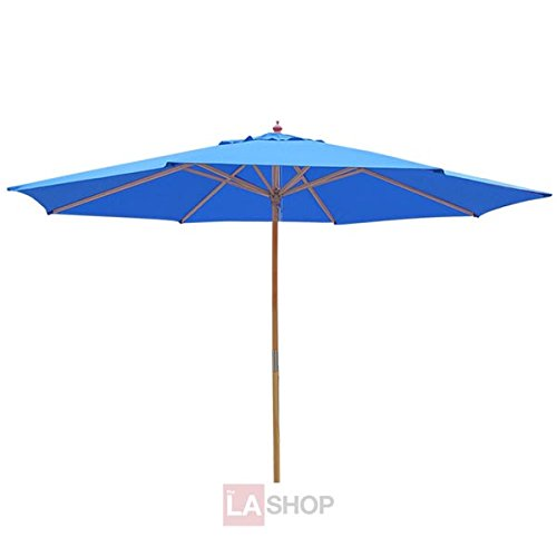 New Sun Shade Backyard Grass Lawn 13ft Waterproof Top Sycamore Wood Umbrella Blue Outdoor 13 Foot Patio Beach