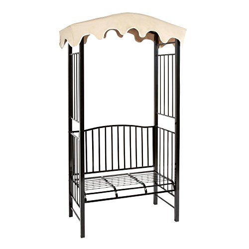 Steel Garden Arbor with Canopy and Bench