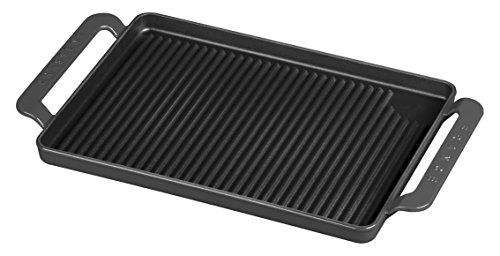 CHASSEUR 14 Rectangular French Enameled Cast Iron Grill Pan 165 x 975 x 15 Caviar Gray
