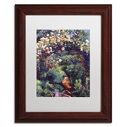 Rose Arbor Pathway by David Lloyd Glover White Matte Wood Frame 11x14-Inch
