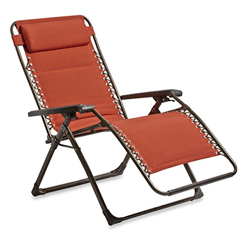 Outdoor Deluxe Oversized Padded Adjustable Zero Gravity Lounge Patio Deck Chair Multi-positional Rust-resistant