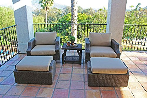 Sunset 5 Piece All Weather Wicker Swivel Club Chair Set Brown Double Wicker With 5&quot Thick Sunbrella Cushions