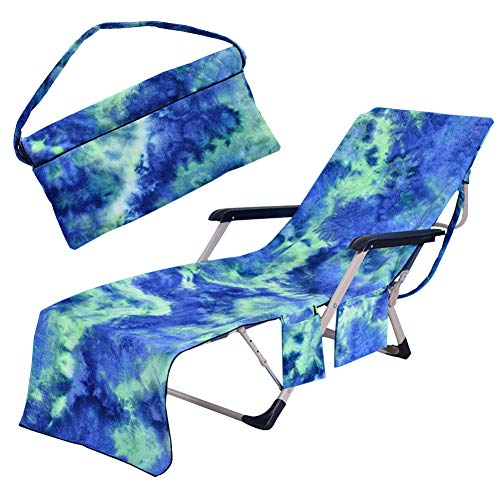 Freesooth Beach Chair Cover Pool Lounge Chaise Towel Sun Lounger with Side Storage Pockets Blue