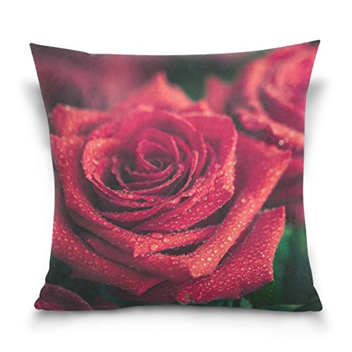ALAZA Double Sided Big Red Rose Cotton Velvet Square Pillow Slipcovers 20x20 Inch Decorative for Chair Auto Seat